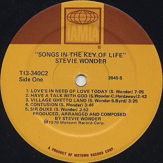 Stevie Wonder / Songs In The Key Of Life label