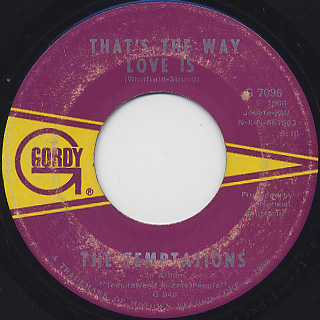 Temptations / Psychedelic Shack c/w That's The Way Love Is back