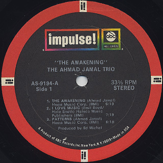 Ahmad Jamal Trio / The Awakening label