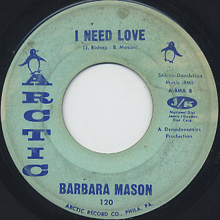 Barbara Mason / I Need Love c/w Bobby, Is My Baby front
