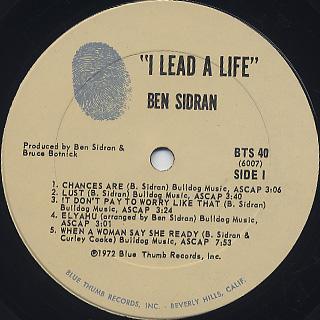 Ben Sidran / I Lead A Life label
