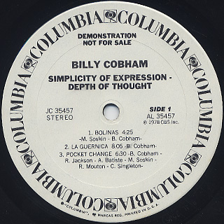 Billy Cobham / Simplicity Of Expression - Depth Of Thought label