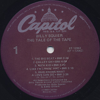 Billy Squier /  The Tale Of The Tape label