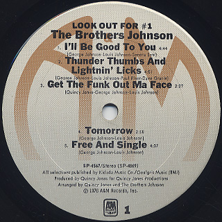 Brothers Johnson / Look Out For #1 label