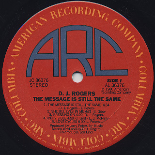 D.J. Rogers / The Message Is Still The Same label