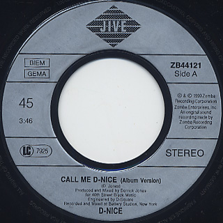 D Nice / Call Me c/w Crumbs On The Table label