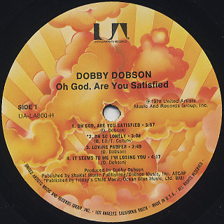 Dobby Dobson / Oh God, Are You Satisfied label