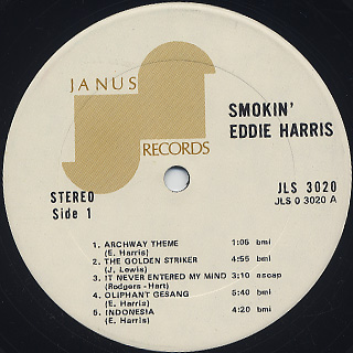 Eddie Harris / Smokin label