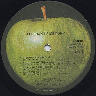 Elephant's Memory / Elephant's Memory label