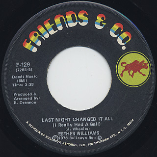 esther williams last night change it all 7inch friends co