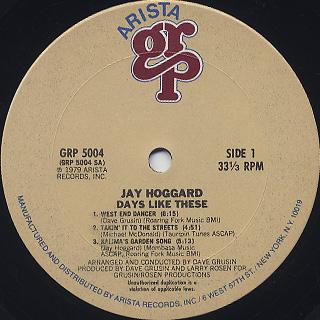 Jay Hoggard / Days Like These label