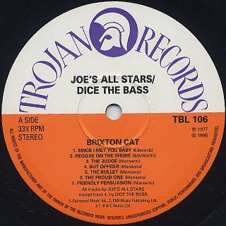 Joe's All Stars / Brixton Cat label