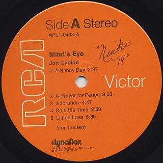Jon Lucien / Mind's Eye label