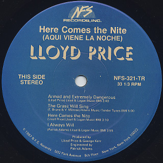 Lloyd Price / Here Comes The Nite label