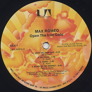 Max Romeo / Open The Iron Gate label