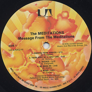 Meditations / Message From The Meditations label