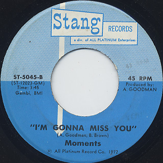 Moments / My Thing c/w I'm Gonna Miss You back