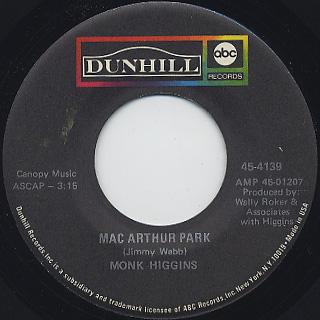 Monk Higgins / Vee Pea c/w MacArthur Park back