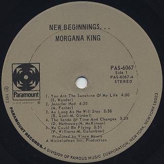 Morgana King / New Beginnings... label