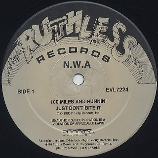 N.W.A / 100 Miles And Runnin' label
