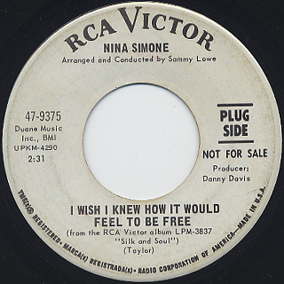 Nina Simone / I Wish I Knew How It Would Feel To Be Free c/w Cherish front