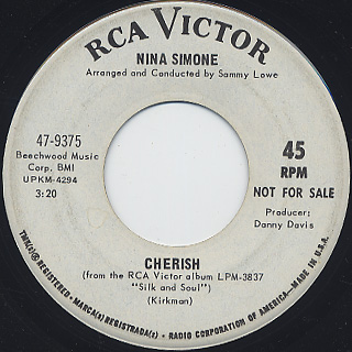 Nina Simone / I Wish I Knew How It Would Feel To Be Free c/w Cherish back