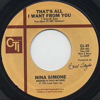 Nina Simone / The Family c/w That's All I Want From You back