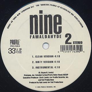 Nine / Ova Confident / Famaldahyde label
