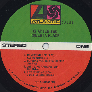 Roberta Flack / Chapter Two label