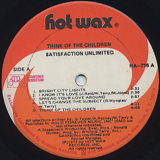 Satisfaction Unlimited / Think Of The Children label