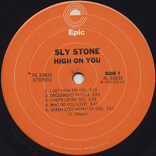 Sly Stone / High On You label