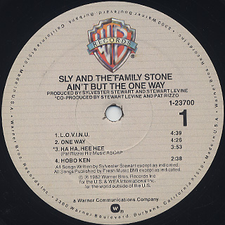 Sly and The Family Stone / Ain't But The One Way label