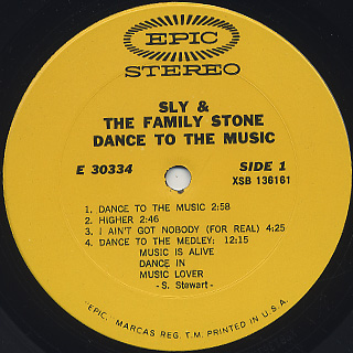 Sly and The Family Stone / Dance To The Music label