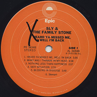 Sly and The Family Stone / Heard Ya Missed Me, Well I'm Back label