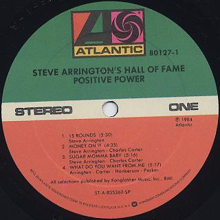Steve Arrington's Hall Of Fame / Positive Power label