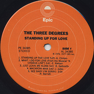 Three Degrees / Standing Up For Love label