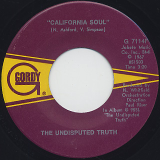 Undisputed Truth / What It Is? c/w California Soul