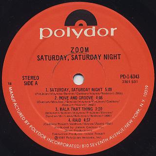 Zoom / Saturday, Saturday Night label