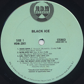 Black Ice / S.T. label