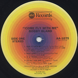 Bobby Bland / Come Fly With Me label