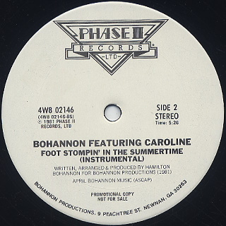 Bohannon Featuring Caroline / Foot Stompin' Summertime back