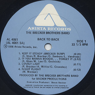 Brecker Brothers Band / Back To Back label