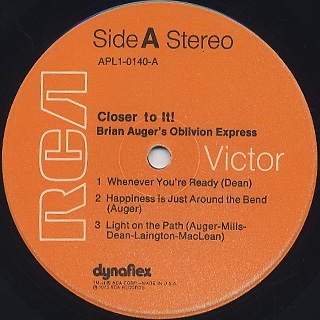 Brian Auger's Oblivion Express / Closer To It! label
