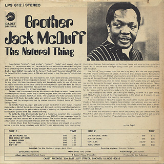 Brother Jack McDuff / The Natural Thing back