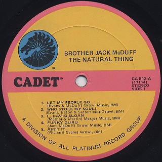 Brother Jack McDuff / The Natural Thing label