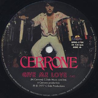 Cerrone / Supernature c/w Give Me Love label