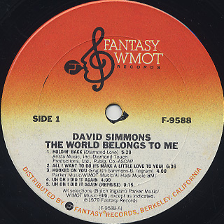 David Simmons / The World Belongs To Me label