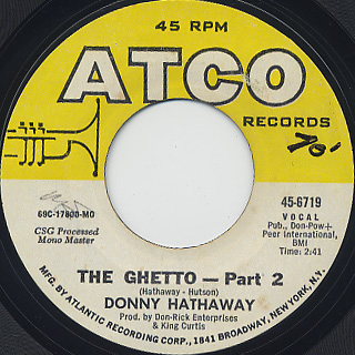 Donny Hathaway / The Ghetto (Part I) c/w (Part II) back