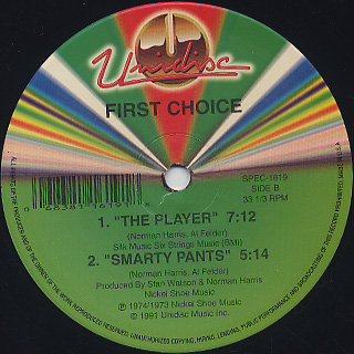 First Choice / Love And Happiness c/w The Player label