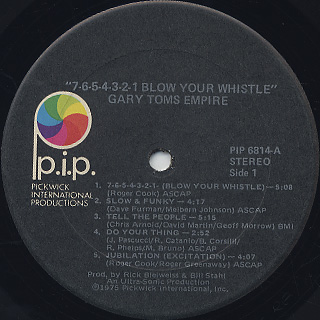 Gary Toms Empire / 7-6-5-4-3-2-1 Blow Your Hustle label